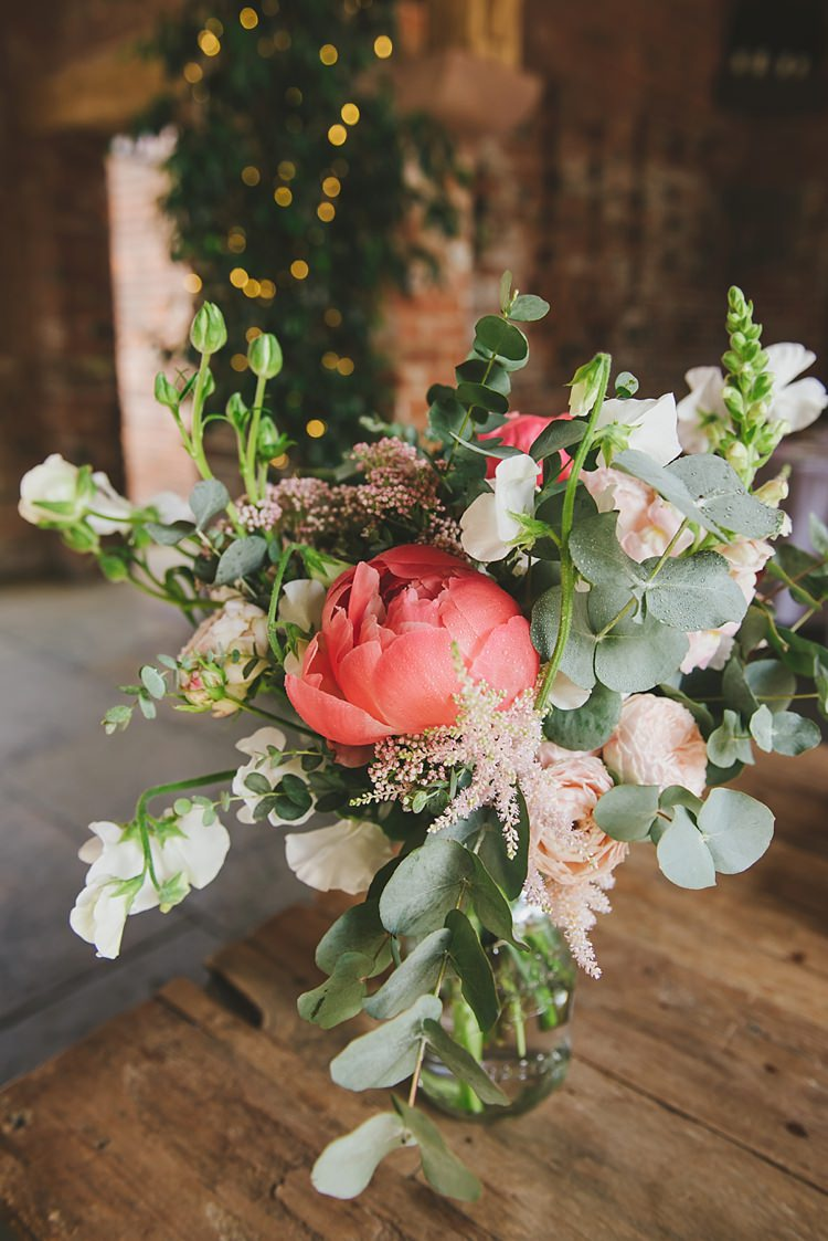 Jar Flowers Peony Peonies Eucalyptus Astilbe Untraditional Pretty Travel Barn Wedding https://www.georgimabee.com/