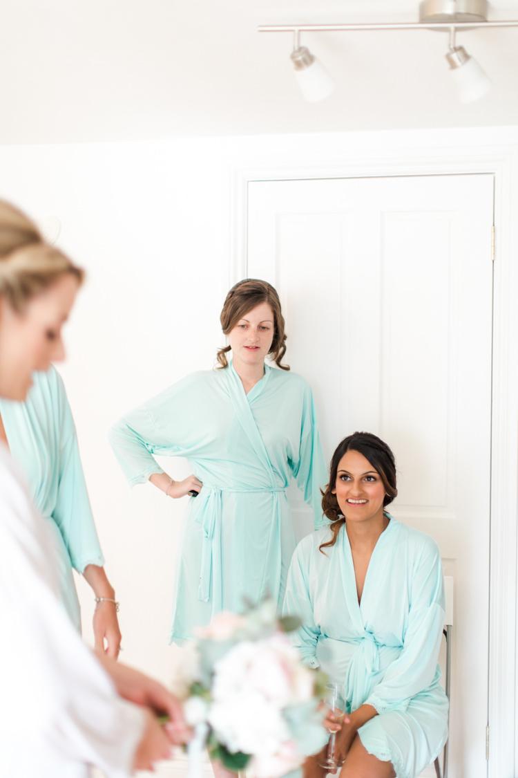 Mint Green Dressing Gowns Bridesmaids Pastels Gold Pretty Summer Barn Wedding http://summerlilystudio.com/