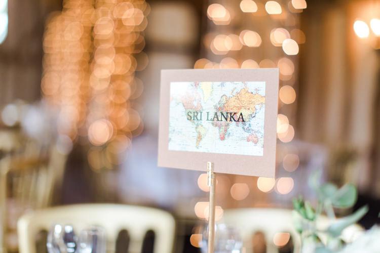 Map Travel Table Name Pastels Gold Pretty Summer Barn Wedding http://summerlilystudio.com/