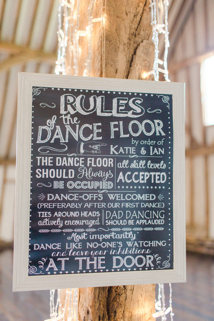 Dancefloor Rules Sign Pastels Gold Pretty Summer Barn Wedding http://summerlilystudio.com/