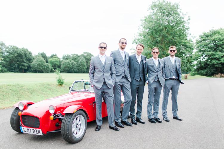 Grey Suits Groom Groomsmen Pastels Gold Pretty Summer Barn Wedding http://summerlilystudio.com/