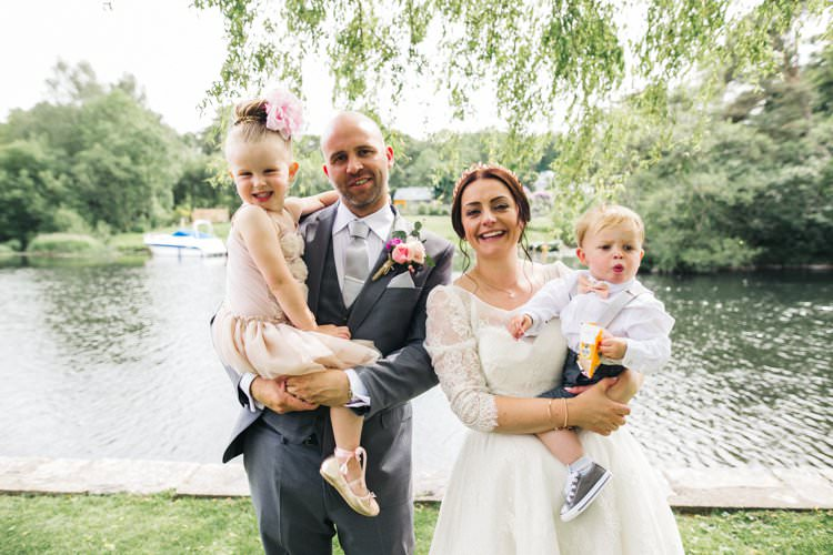 Bride Bridal Dress Gown Three Quarter Sleeves Lace Sweetheart Neckline Tea Length Grey Three Piece Suit Groom Flower Girl Page Boy Colourful Floral Family Friendly Wedding http://www.sallytphoto.com/