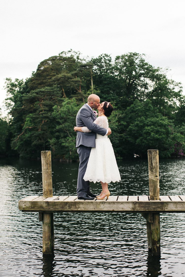 Bride Bridal Tea Length Louise Bentley Lace Three Quarter Sleeve T-Bar Shoes Rose Gold Leaf Crown Grey Suit Groom Colourful Floral Family Friendly Wedding http://www.sallytphoto.com/