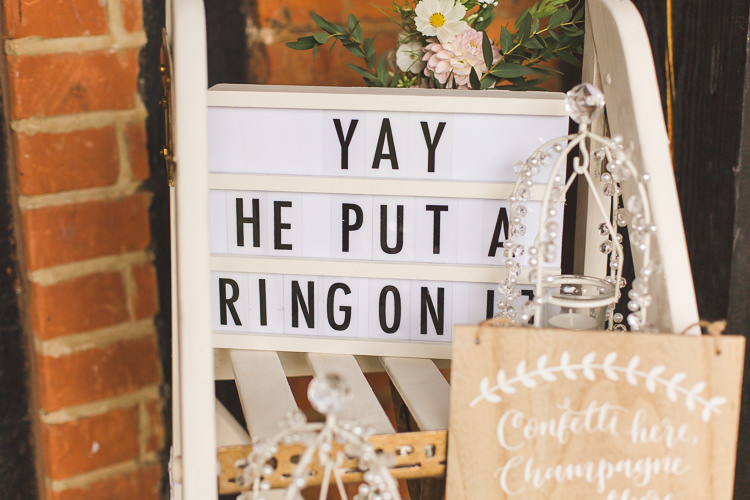 Stepladder Display Lightbox He Put A Ring On It Wooden Handpainted Sign Whimsical Romantic Barn Wedding http://kirstymackenziephotography.co.uk/
