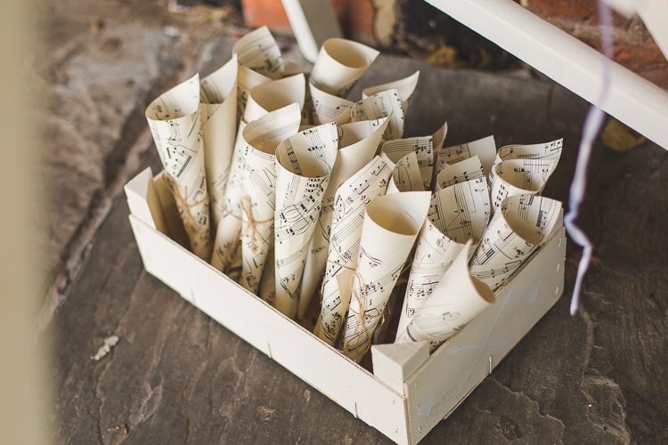 Confetti Cone Holder Sheet Music Whimsical Romantic Barn Wedding http://kirstymackenziephotography.co.uk/