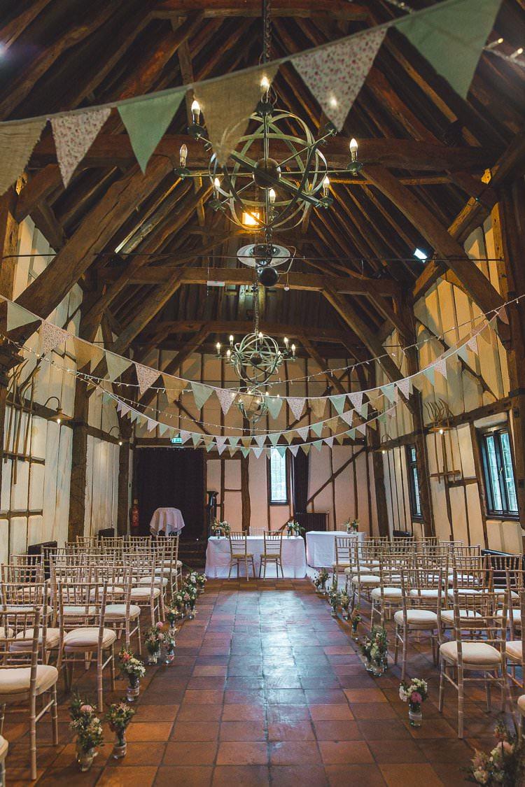 Ceremony Bunting Whimsical Romantic Barn Wedding http://kirstymackenziephotography.co.uk/