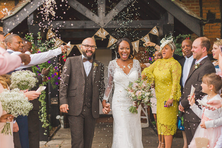 Bride Bridal Maggie Sottero Long Sleeved Lace Dress Sweetheart Brown Tweed Groom Suit Three Piece Confetti Whimsical Romantic Barn Wedding http://kirstymackenziephotography.co.uk/