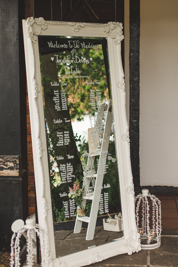 Mirror Table Plan Frame Modern Calligraphy Seating Chart Whimsical Romantic Barn Wedding http://kirstymackenziephotography.co.uk/