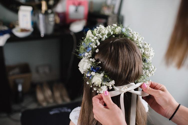 Flower Girl Crown Ribbon Gypsophila Rose Personal Homegrown Country Farm Wedding https://www.emmahare.com/
