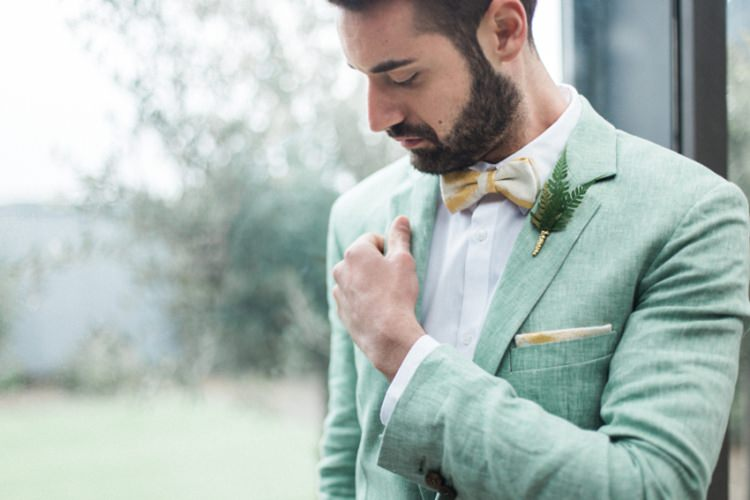 Groom Green Suit Fern Foliage Buttonhole Yellow Beige Bow Tie | Greenery Botanical Wedding Ideas https://lisadigiglio.com/