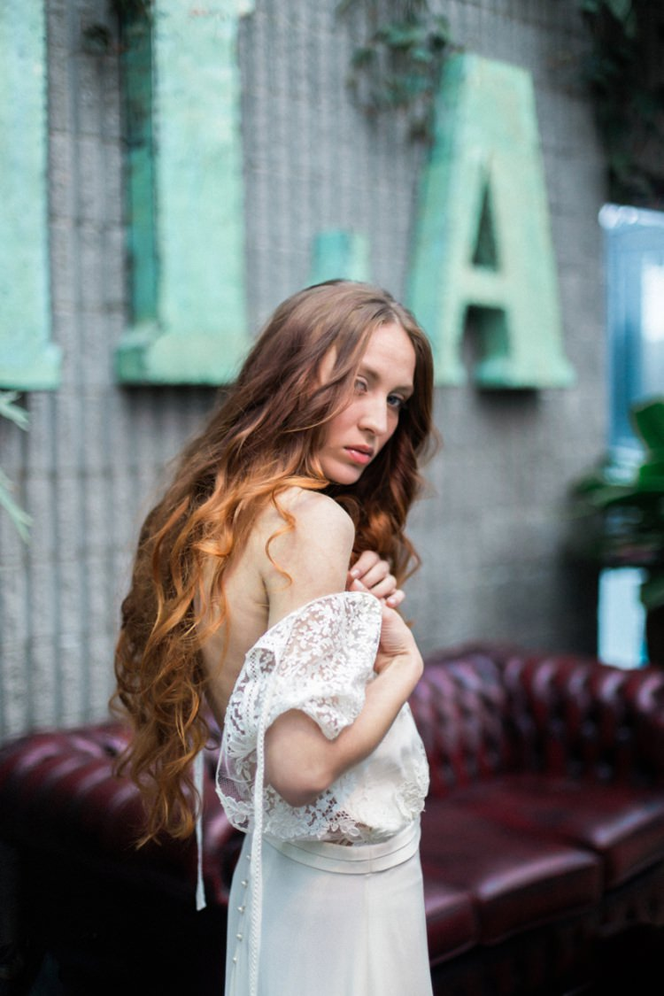 Red Long Hair Bride Dress Lace Loose Romantic Boho Fine Art | Greenery Botanical Wedding Ideas https://lisadigiglio.com/