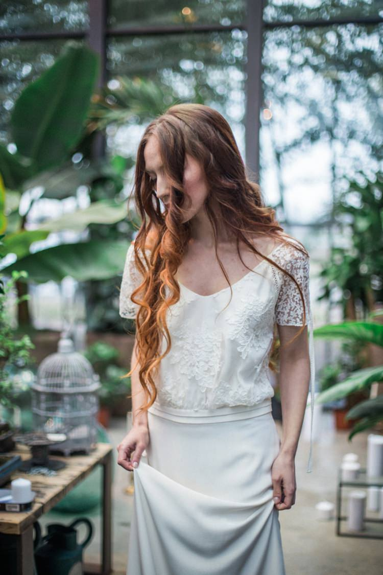 Conservatory Foliage Red Long Hair Bride Dress Lace Loose Romantic Boho Fine Art | Greenery Botanical Wedding Ideas https://lisadigiglio.com/