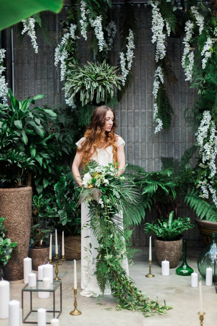 Conservatory Red Long Hair Bride Dress Lace Fine Art Foliage Cascading Bouquet | Greenery Botanical Wedding Ideas https://lisadigiglio.com/