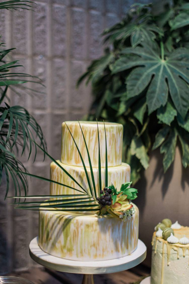 Conservatory Cake Green Gold Ferns Foliage Simple Natural White Fresh | Greenery Botanical Wedding Ideas https://lisadigiglio.com/