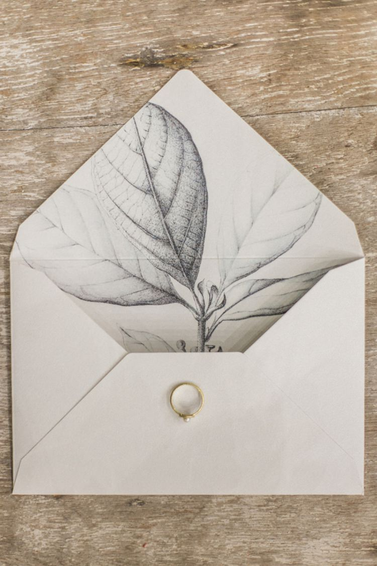 Stationery Envelope Liner Plant Illustration Modern Grey Monochrome | Greenery Botanical Wedding Ideas https://lisadigiglio.com/