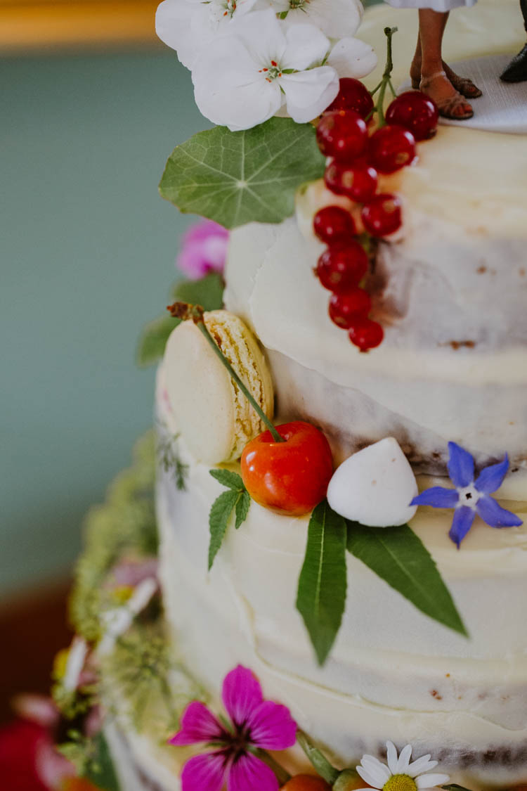 Buttercream Cake Flowers Berries Macarons Unconventional Country Cotswolds Barn Wedding http://www.alexandrajane.co.uk/