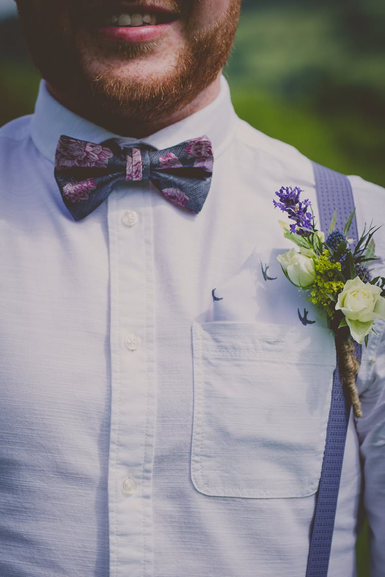 Bow Tie Braces Buttonhole Groom Style Quirky Afternoon Tea Wedding http://laurarhianphotography.co.uk/
