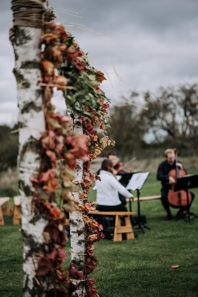 Arch Backdrop Branch Ceremony Flowers Leaves Rustic Peaky Blinders Vineyard Wedding Yorkshire https://www.kazooieloki.co.uk/