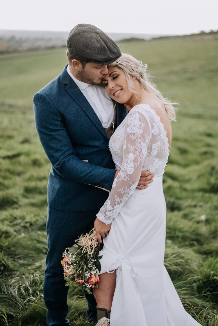 Bride Bridal Dress Gown Lace Sleeves Bohemian Rustic Peaky Blinders Vineyard Wedding Yorkshire https://www.kazooieloki.co.uk/