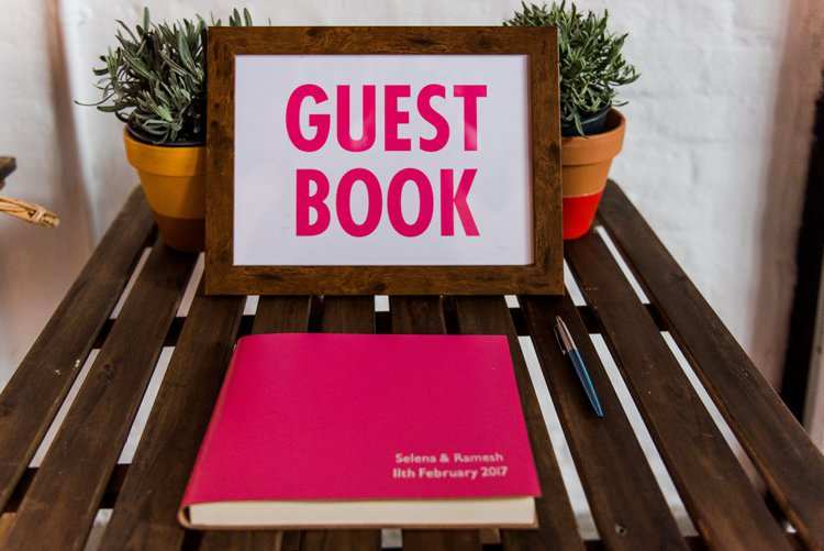 Guest Book Pink Terracotta Pot Succulent Bright Very Colourful Quirky Fun City Wedding London http://www.babbphoto.com/
