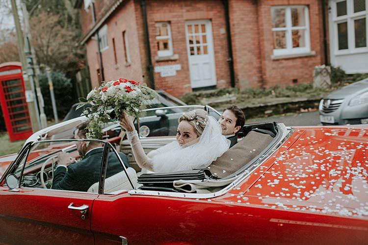 Convertable Car Transport Traditional Christmas Wedding Red Festive https://lolarosephotography.com/