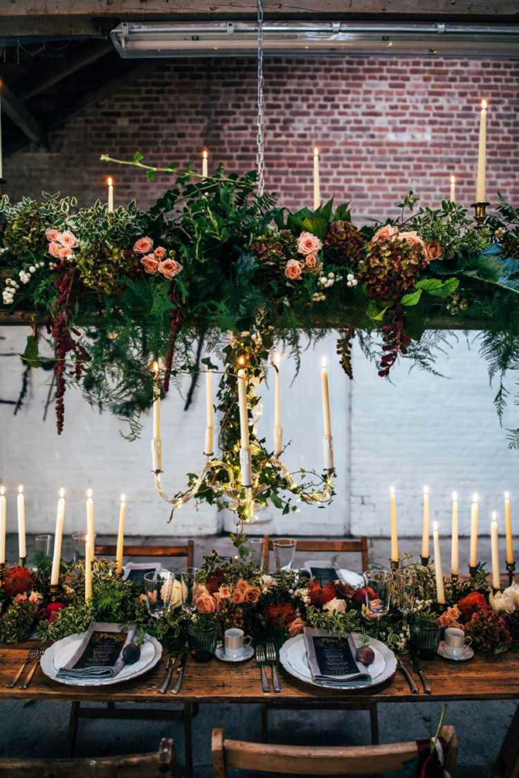 Hanging Flowers Rustic Tablescape Decor Candles Celestial Feast Party Wedding Ideas http://www.threeflowersphotography.co.uk/