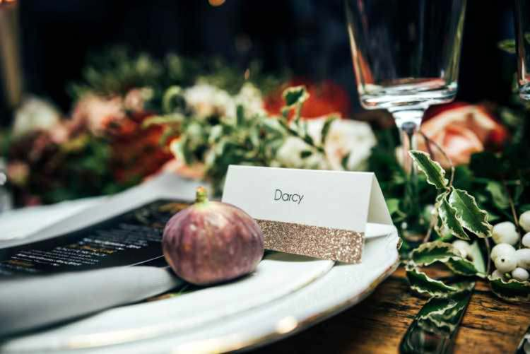 Glitter Place Name Cards Celestial Feast Party Wedding Ideas http://www.threeflowersphotography.co.uk/