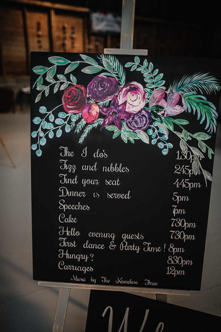 Black Chalk Board Sign Floral Order Day Luxe Rustic Autumn Berry Wedding http://www.oobaloosphotography.co.uk/