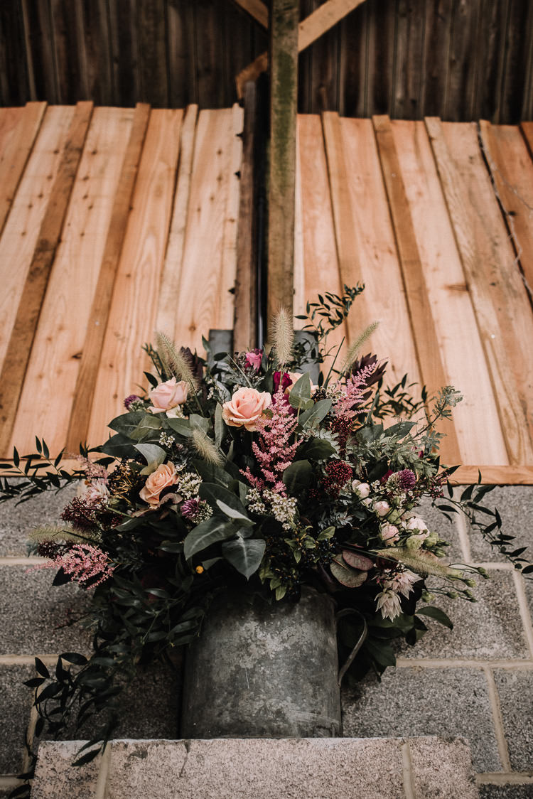 Flowers Bucket Pink Red Purple Luxe Rustic Autumn Berry Wedding http://www.oobaloosphotography.co.uk/