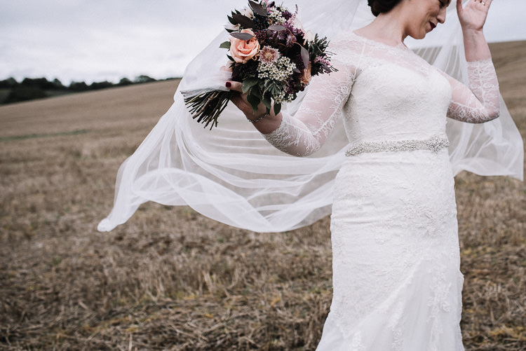 Lace Dress Sleeves Bride Bridal Flowers Veil Luxe Rustic Autumn Berry Wedding http://www.oobaloosphotography.co.uk/