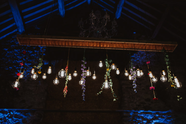 Hanging Flowers Edison Light Installation Colourful DIY Floral Luxe Barn Wedding http://www.joemather-photography.co.uk/