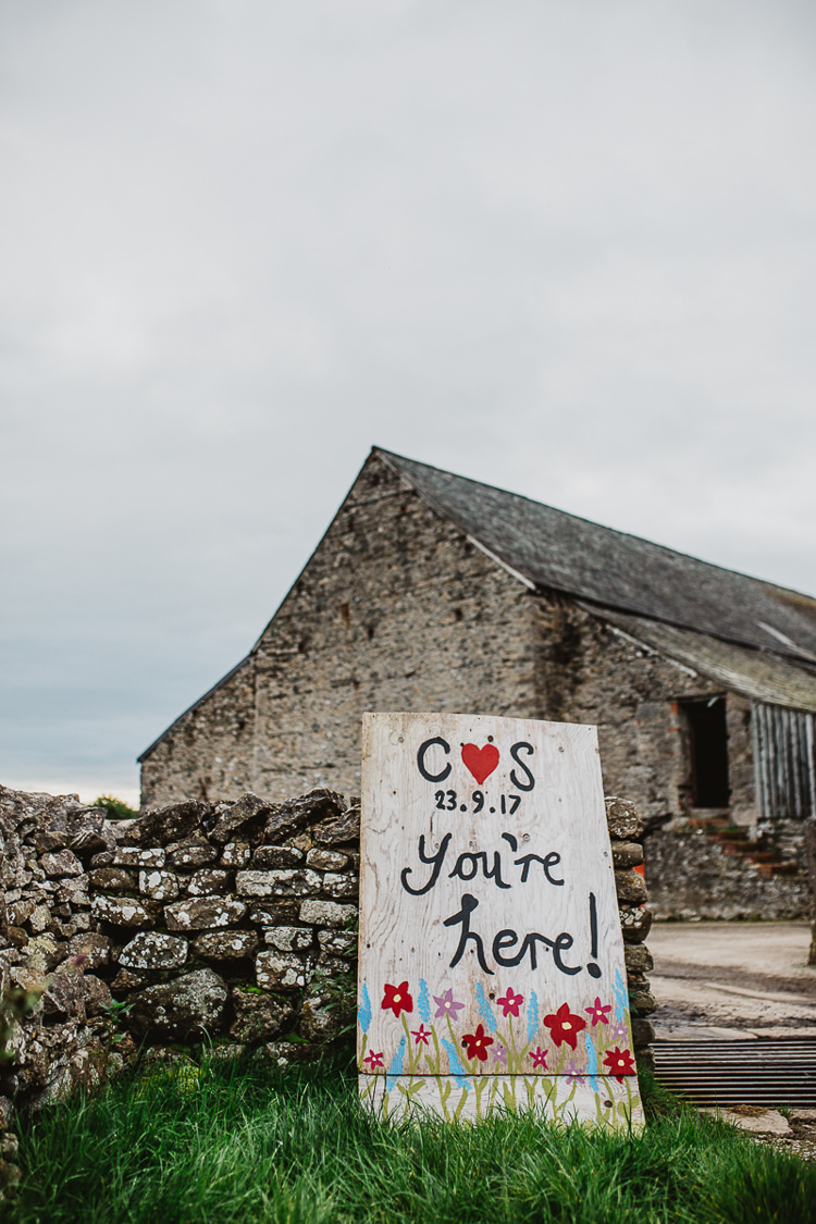 Welcome Sign Wooden Rustic Painted Colourful DIY Floral Luxe Barn Wedding http://www.joemather-photography.co.uk/