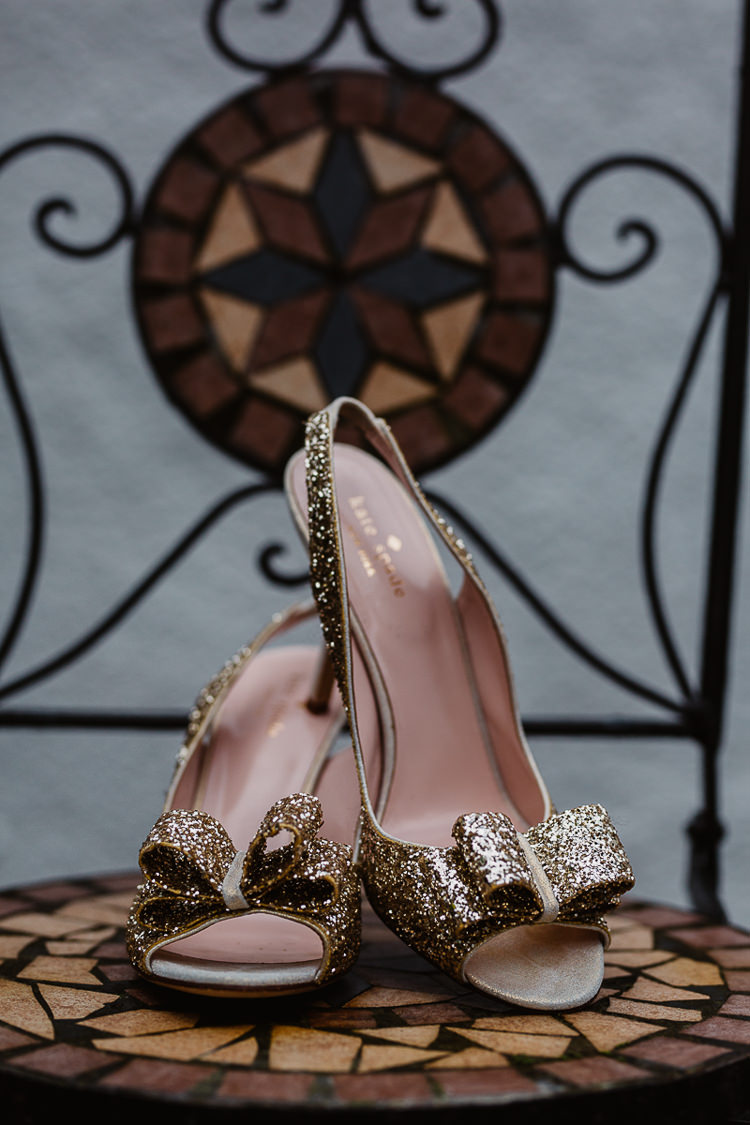 Glitter Bow Kate Spade Shoes Colourful DIY Floral Luxe Barn Wedding http://www.joemather-photography.co.uk/