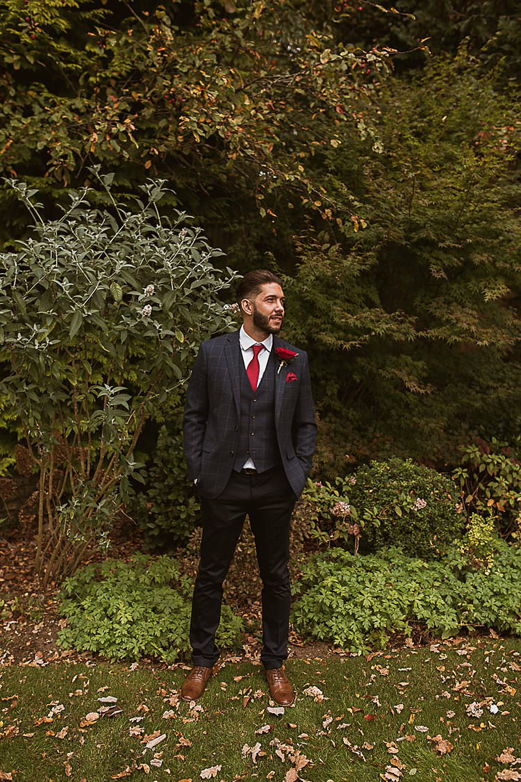 Nacy Check Suit Groom Beautiful Vibrant Dark Red Autumn Wedding http://thespringles.com/
