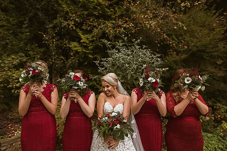 Bridesmaids Lace Beautiful Vibrant Dark Red Autumn Wedding http://thespringles.com/