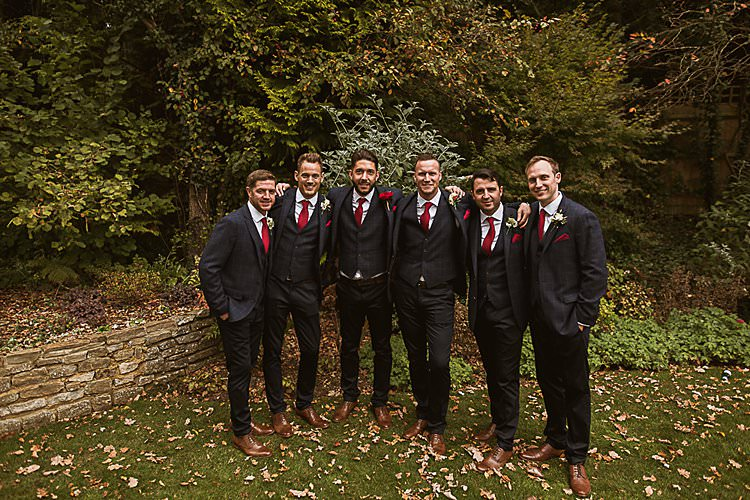 Groomsmen Suits Beautiful Vibrant Dark Red Autumn Wedding http://thespringles.com/