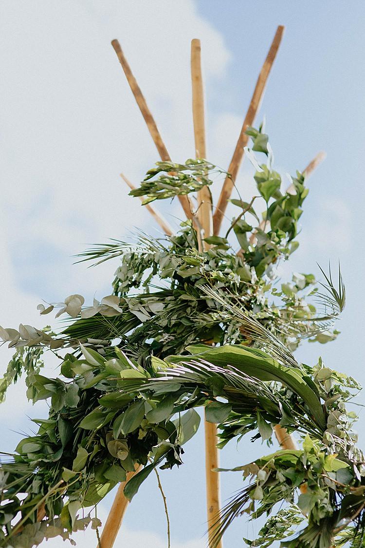 Tipi Greenery Ceremony Backdrop Mega Laid Back Festival Party Wedding http://www.jessicawilliams.photography/