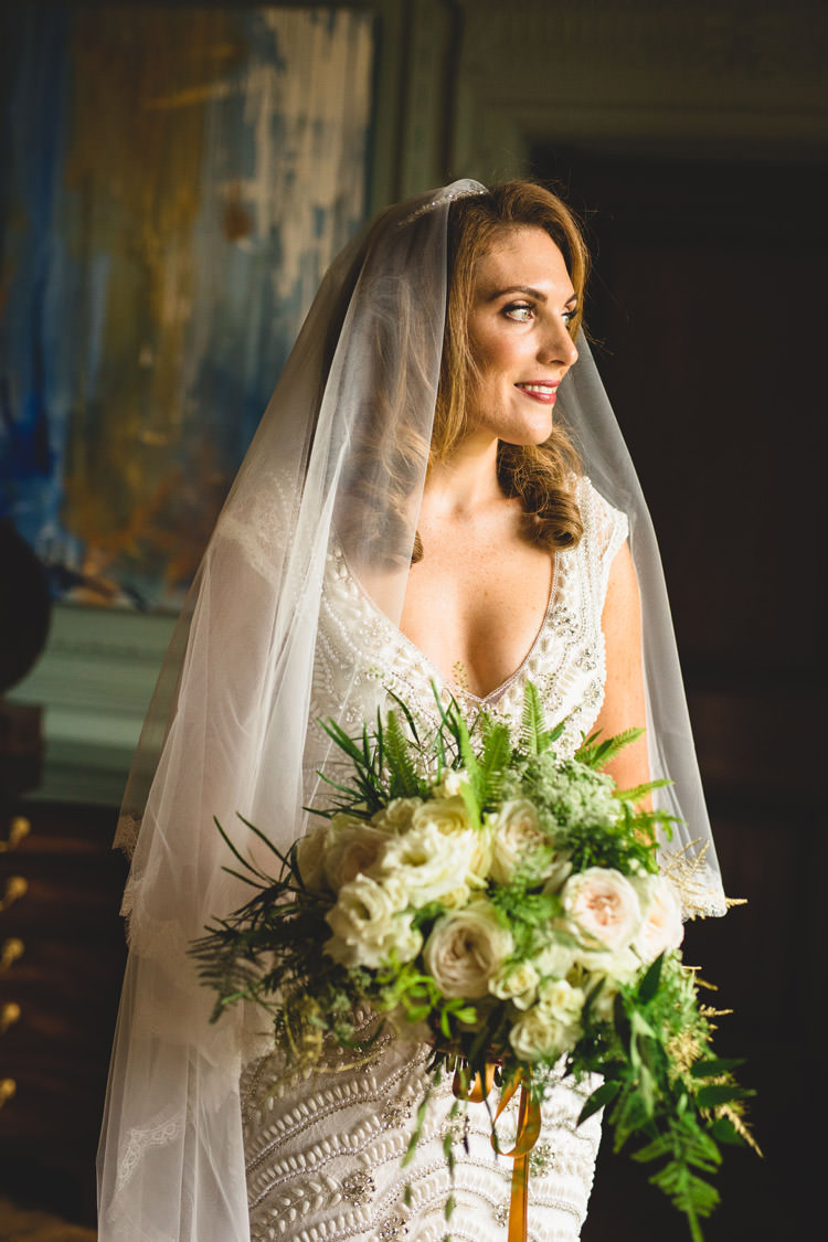 Bride Bridal Veil Dress Gown Embellished Fishtail Bouquet Greenery Rose White Ribbon Gold Sequins Marble Greenery Vintage Glamour Wedding https://www.tobiahtayo.com/