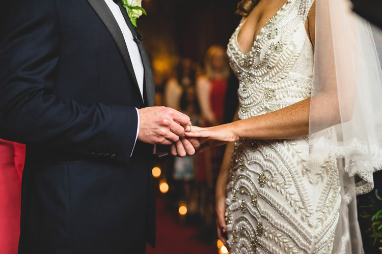 Bride Bridal Veil Dress Gown Embellished Fishtail Moss Bros Groom Navy Dinner Jacket Tuxedo Bow Tie Gold Sequins Marble Greenery Vintage Glamour Wedding https://www.tobiahtayo.com/