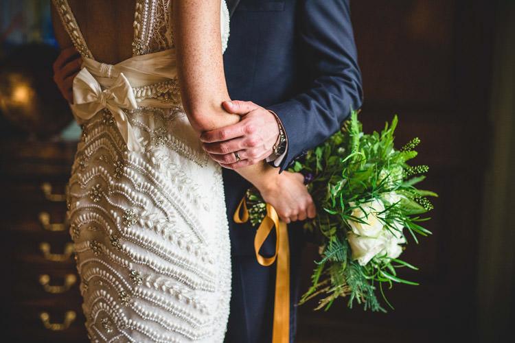 Bride Bridal Veil Dress Gown Embellished Fishtail Moss Bros Groom Navy Dinner Jacket Tuxedo Gold Sequins Marble Greenery Vintage Glamour Wedding https://www.tobiahtayo.com/