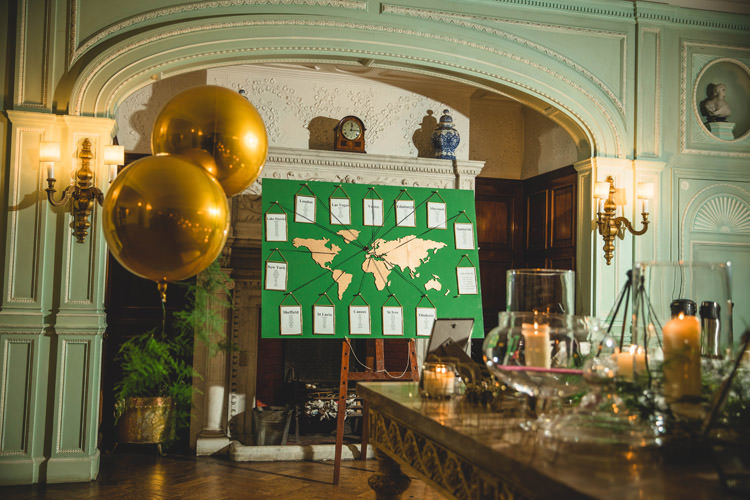 World Map Green Table Plan Seating Chart Gold Helium Balloons Gold Sequins Marble Greenery Vintage Glamour Wedding https://www.tobiahtayo.com/