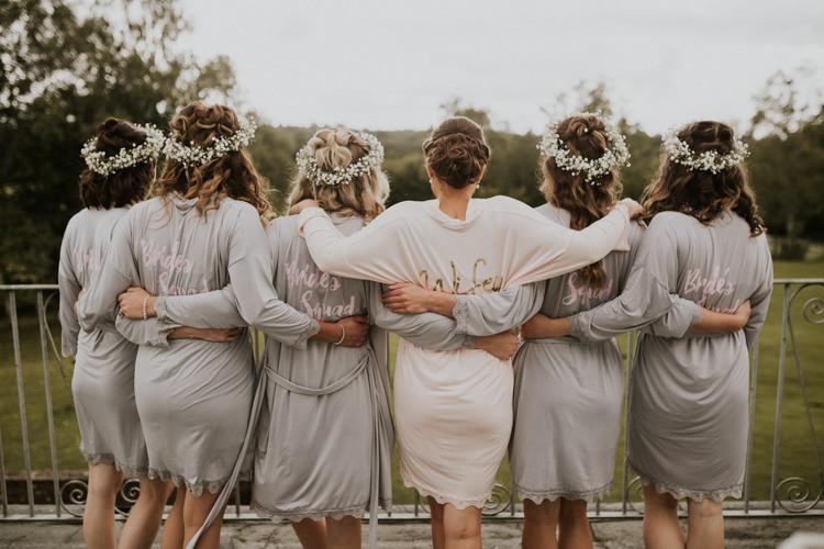 Bride Bridal Bridesmaids Bespoke Silk Gown Wrap Gypsophila Crowns Rustic Country Fun Autumn Farm Wedding http://natalyjphotography.com/