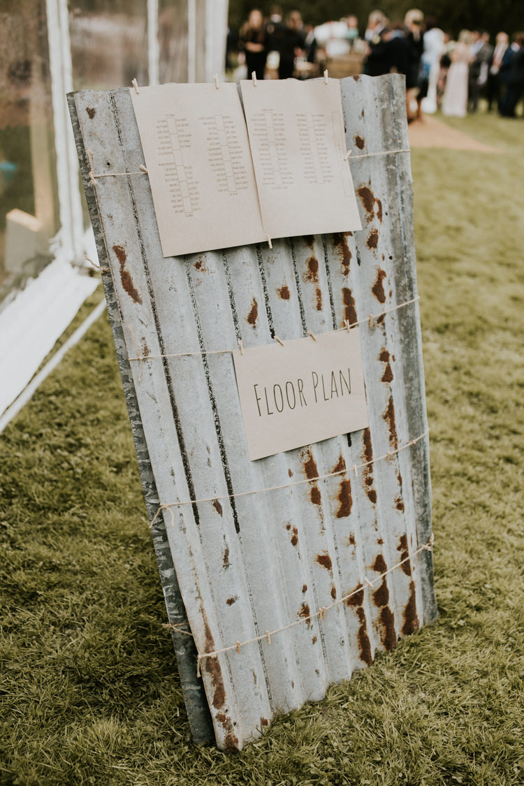Table Plan Floor Plan Seating Chart Corrugated Iron Twine Pegs Rustic Country Fun Autumn Farm Wedding http://natalyjphotography.com/