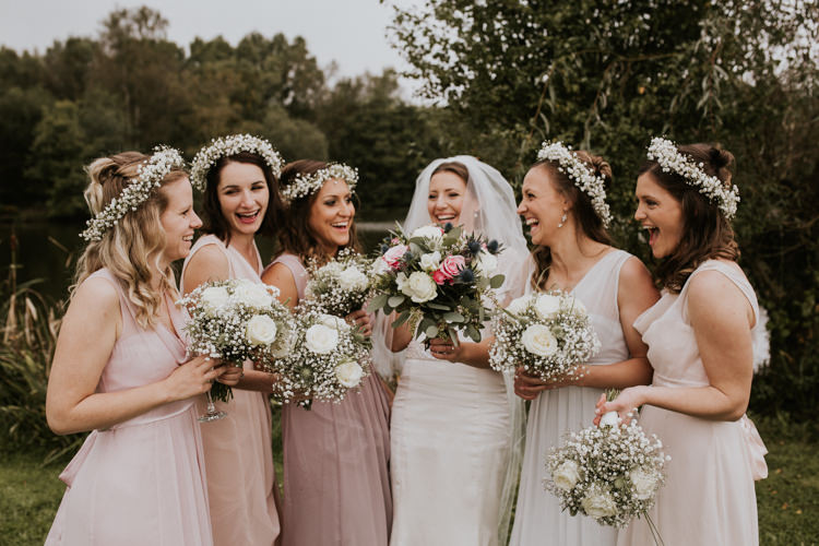 Bride Bridal Bridesmaids Pink Blush Dress Veil Gypsophila Crown Rustic Country Fun Autumn Farm Wedding http://natalyjphotography.com/