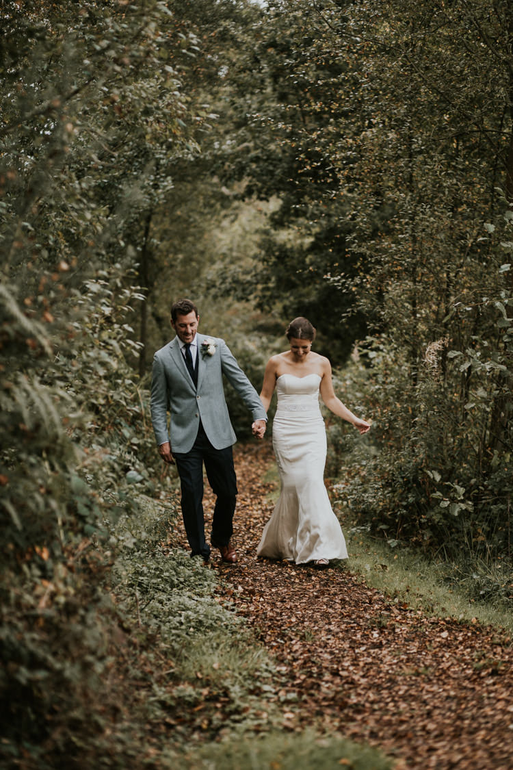 Bride Bridal Dress Gown Suit Supply Groom Mismatched Grey Blue Jacket Three Piece Waistcoat Rustic Country Fun Autumn Farm Wedding http://natalyjphotography.com/