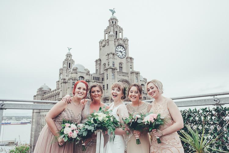 Bride Bridesmaids Blush Champagne Gold Photos Cityscape Terrace View Liverpool | Greenery Burgundy City Autumn Wedding http://lisahowardphotography.co.uk/