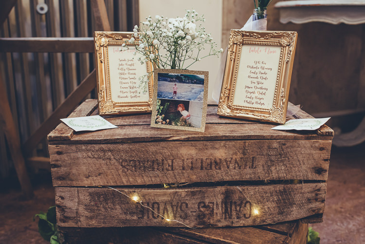 Rustic Decor Crate Table Plan Childhood Photos Gold Frames Calligraphy | Greenery Burgundy City Autumn Wedding http://lisahowardphotography.co.uk/