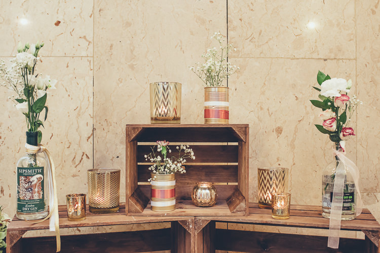 Rustic Industrial Romantic Decor Gin Bottle Tin Cans Roses Baby's Breath Crates | Greenery Burgundy City Autumn Wedding http://lisahowardphotography.co.uk/