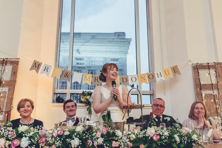 Top Table Pink Roses Bride Speech Bunting Garland Foliage Flower Runner | Greenery Burgundy City Autumn Wedding http://lisahowardphotography.co.uk/