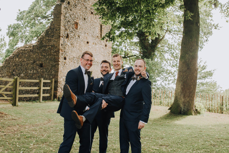 Groomsmen Goom Navy Suit Bow Ties Orange Country Barn Wedding http://www.meganduffield.com/